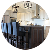 custom kitchen cabinets contrasting island