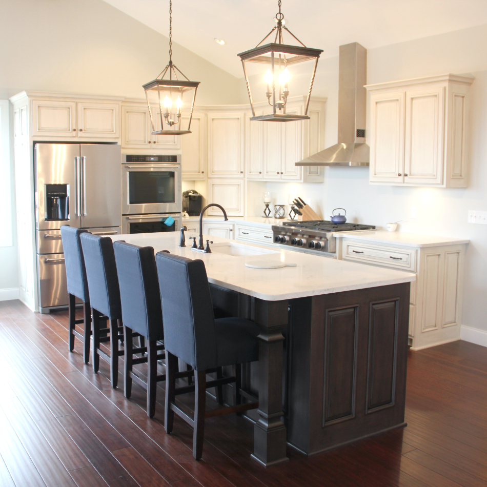 How To Stain Kitchen Cabinets Black: Painted-glazed-dark-stained-kitchen-cabinets-CNL02